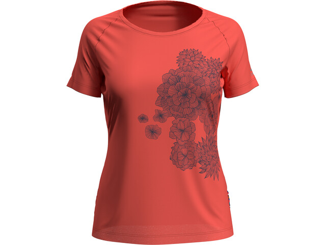 Odlo Concord Camiseta Manga Corta Cuello Redondo Mujer, hot coral/bloom print